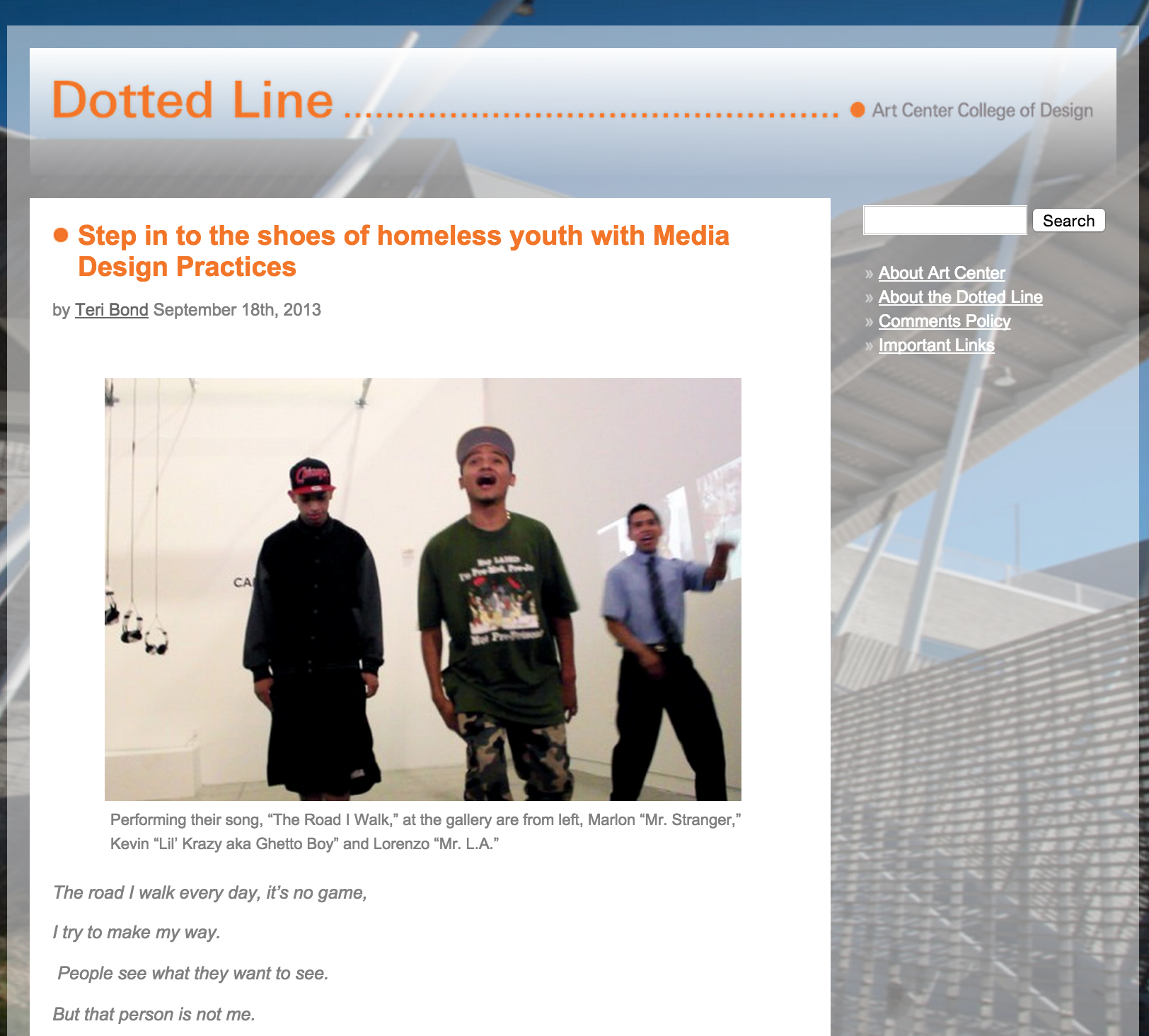 Featured in Art Center's Dotted Line  Step in the shoes of homeless youth with Media Design Practices