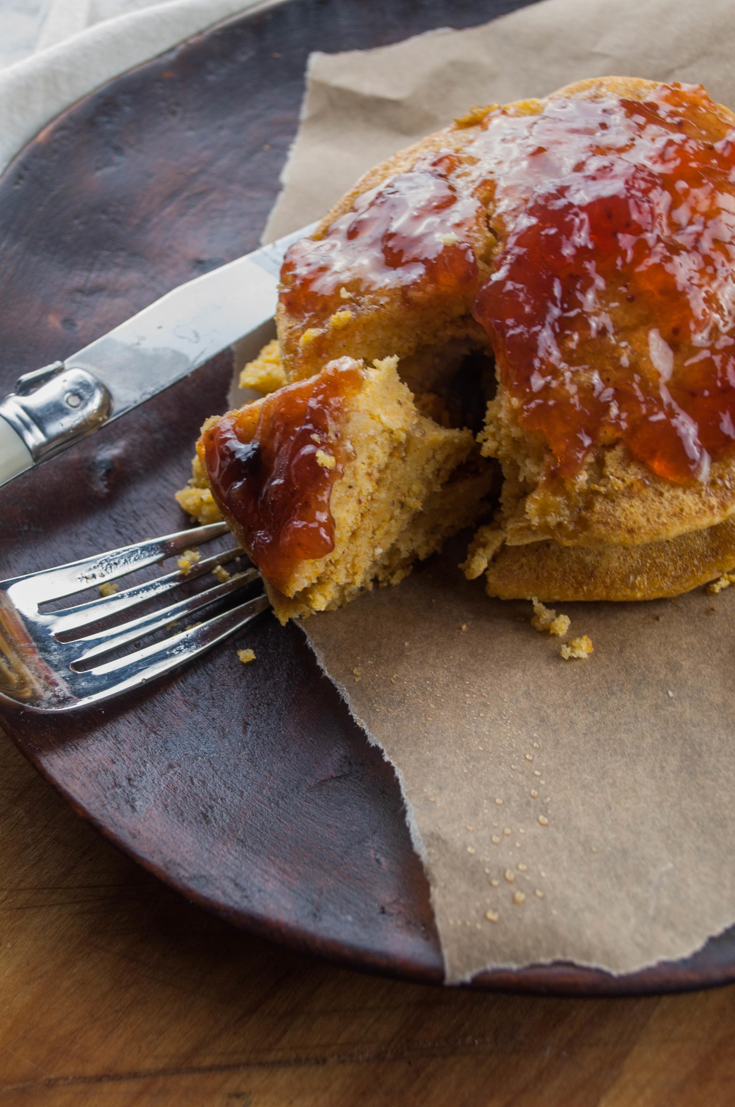 Fluffy Cornbread Pancakes with Strawberry Jam