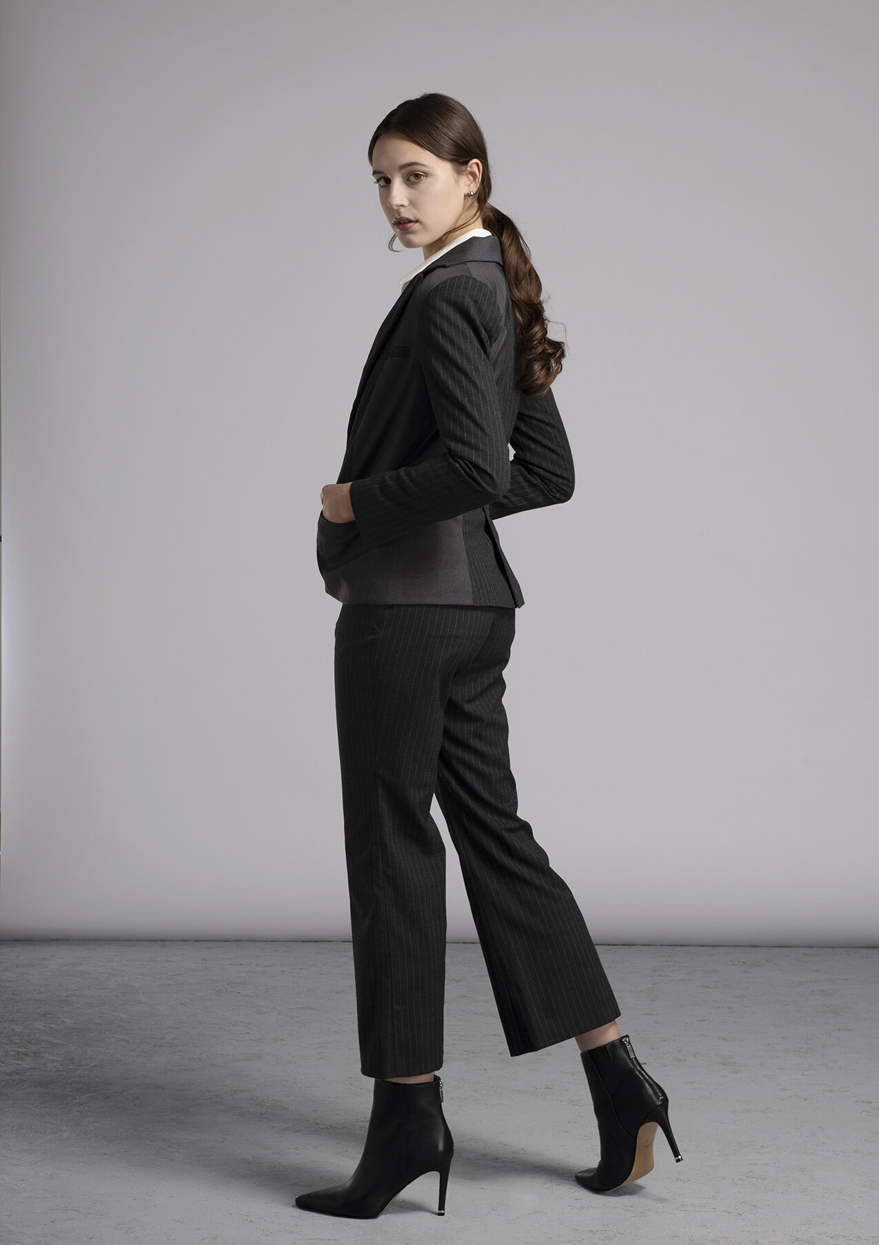 Women's made-to-measure grey pin stripe suit