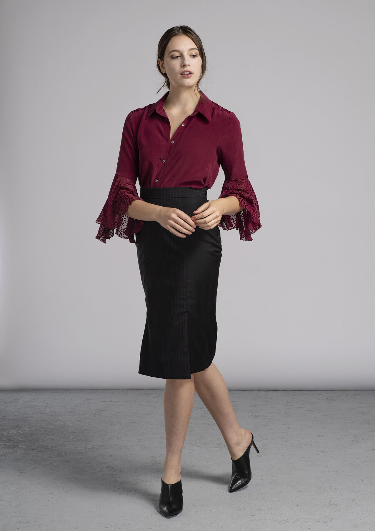 Women's made-to-measure bell sleeve red silk blouse