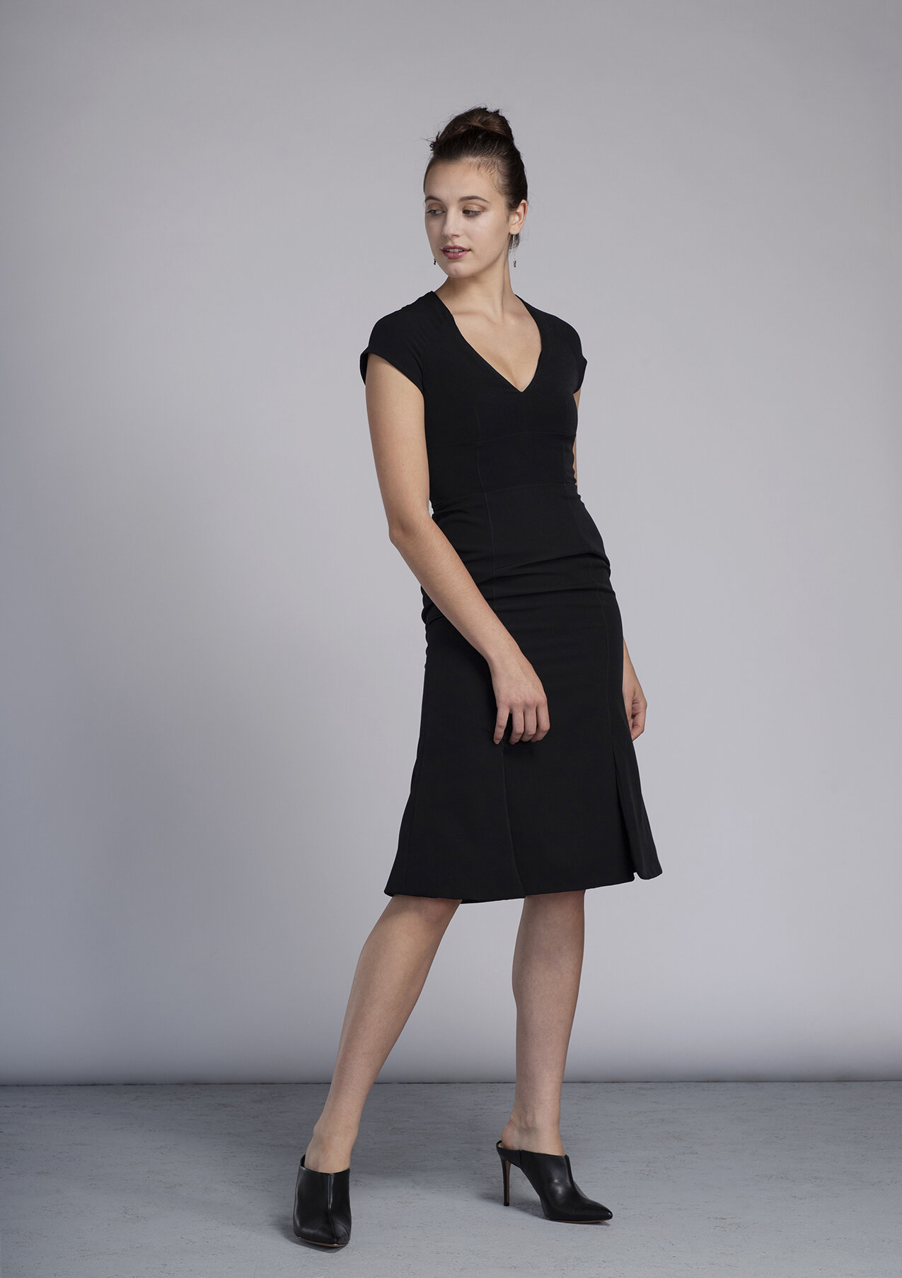 Black made-to-measure fit and flare dress