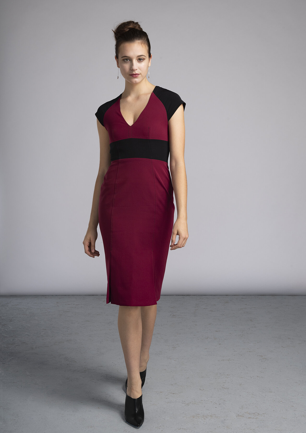 Red and Black colorblock made-to-measure dress