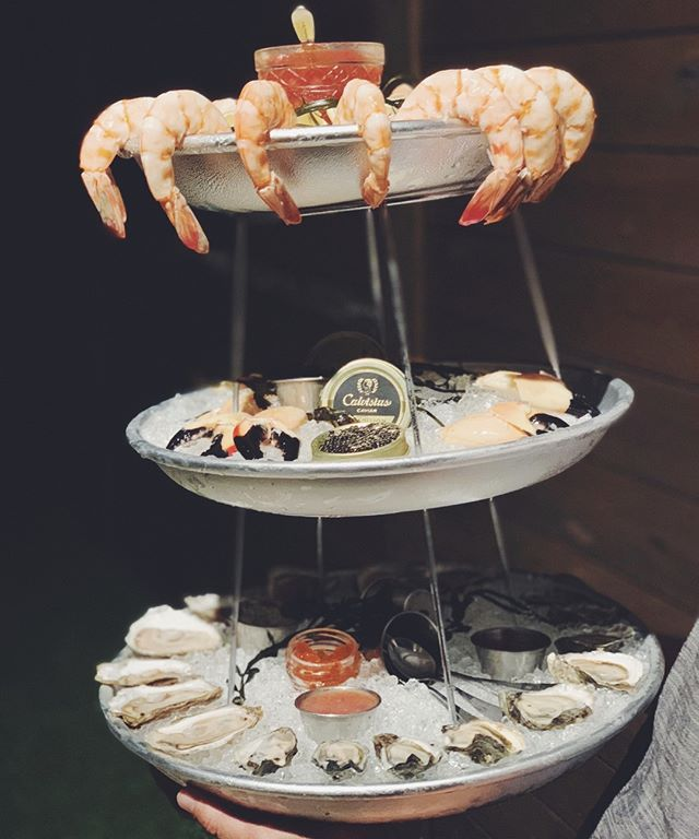 Seafood tower- for the ones who enjoys the finer things in life • #saltblock #eventdesign #tampabay #tampaevents #tampafoodie #tbeats #onmytable #oysters #hospitalitycatering #getinmybelly