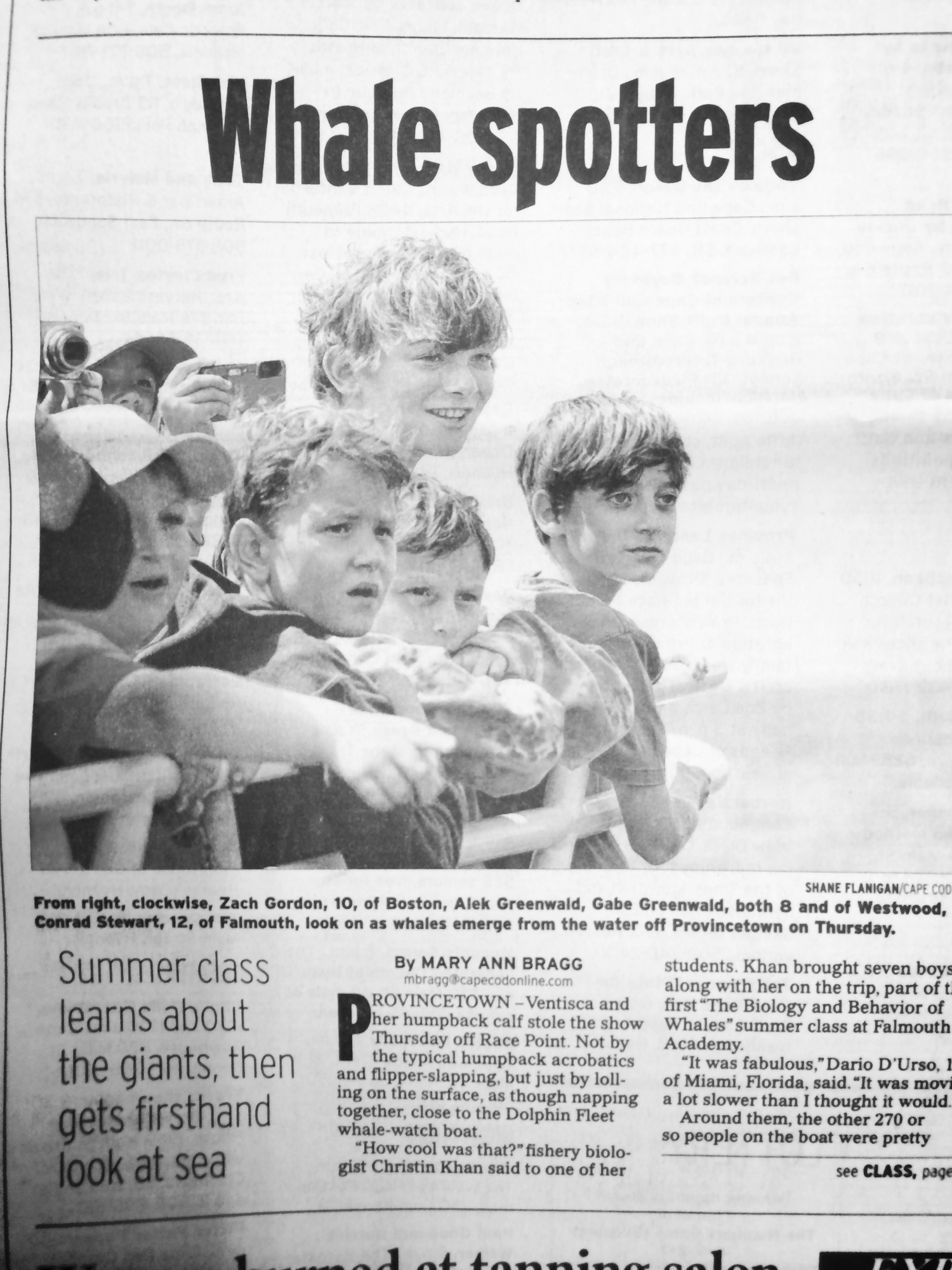 Christin Khan's summer class 'Whales' at Falmouth Academy makes the front page of the Cape Cod Times!