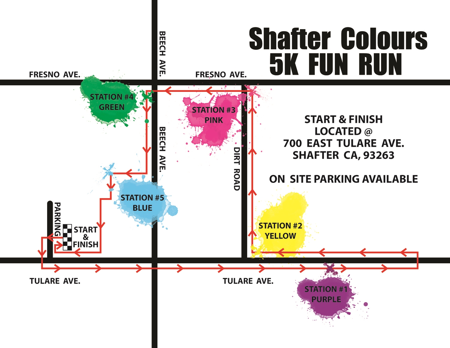 5-K COLOUR Run Map - new orange station location tba this year!