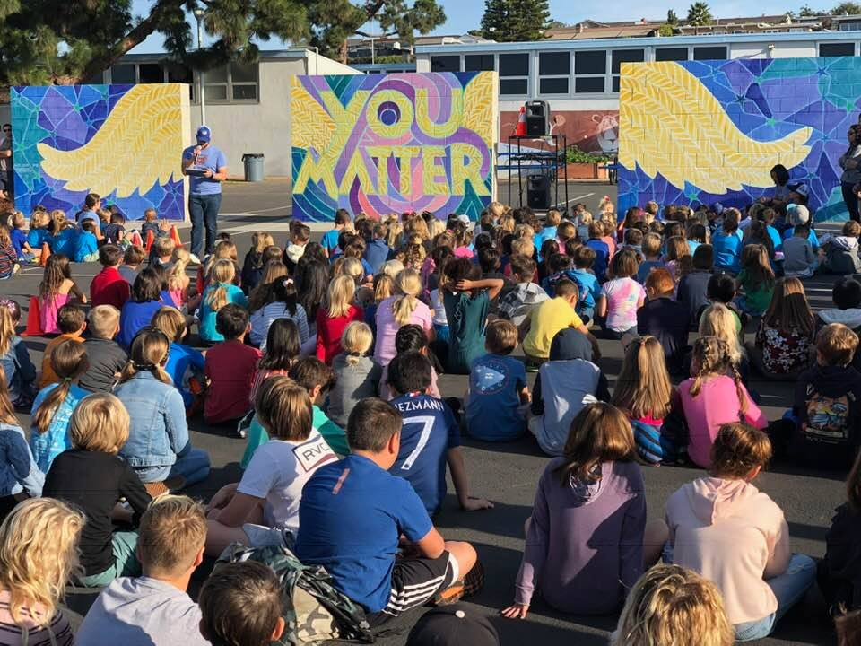 Outdoor assembly at Harborview Elementary, Newport Beach, CA