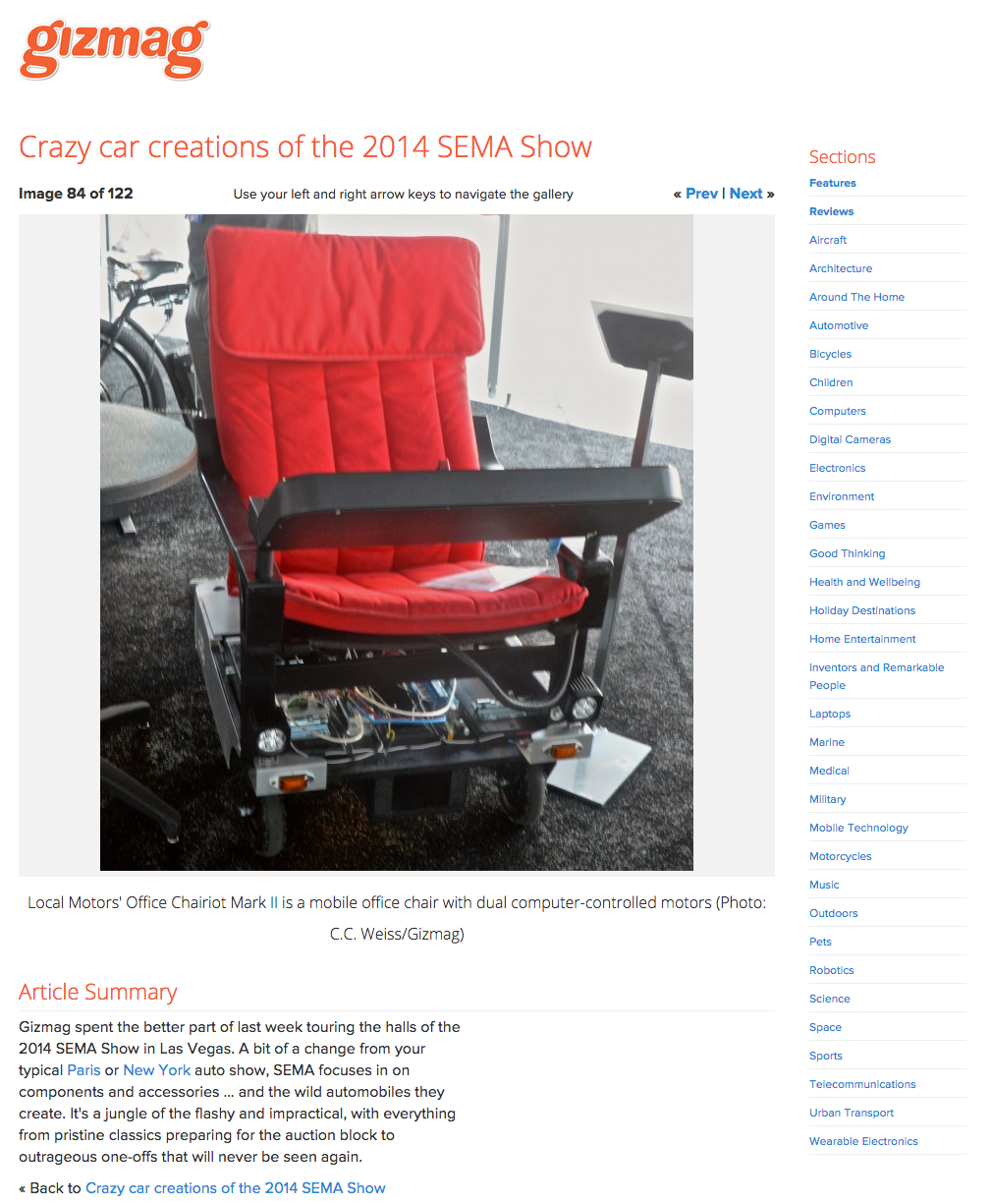 Gizmag coverage of SEMA 2014