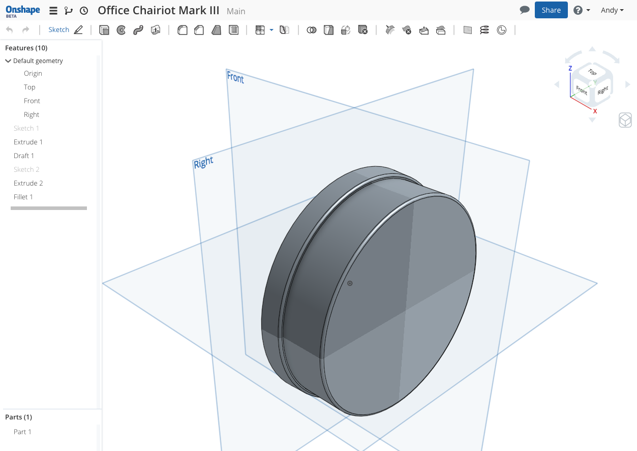Office Chairiot Mark III Wheel Hub Design in Onshape Cloud-based CAD