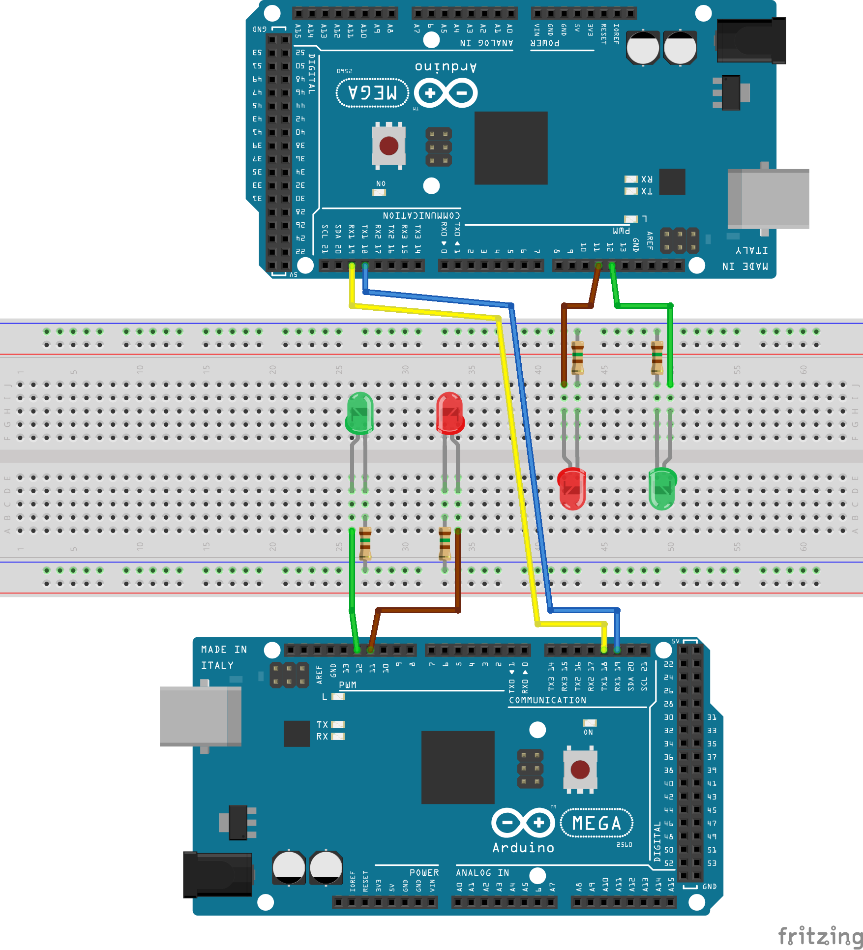 Arduino Mega 2560 to Arduino Mega 2560 Serial Packet Test Circuit Diagram
