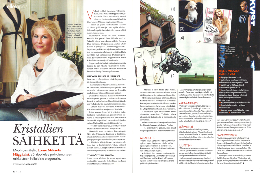 ELLE Finland, interview by Mika Minetti, January 2011