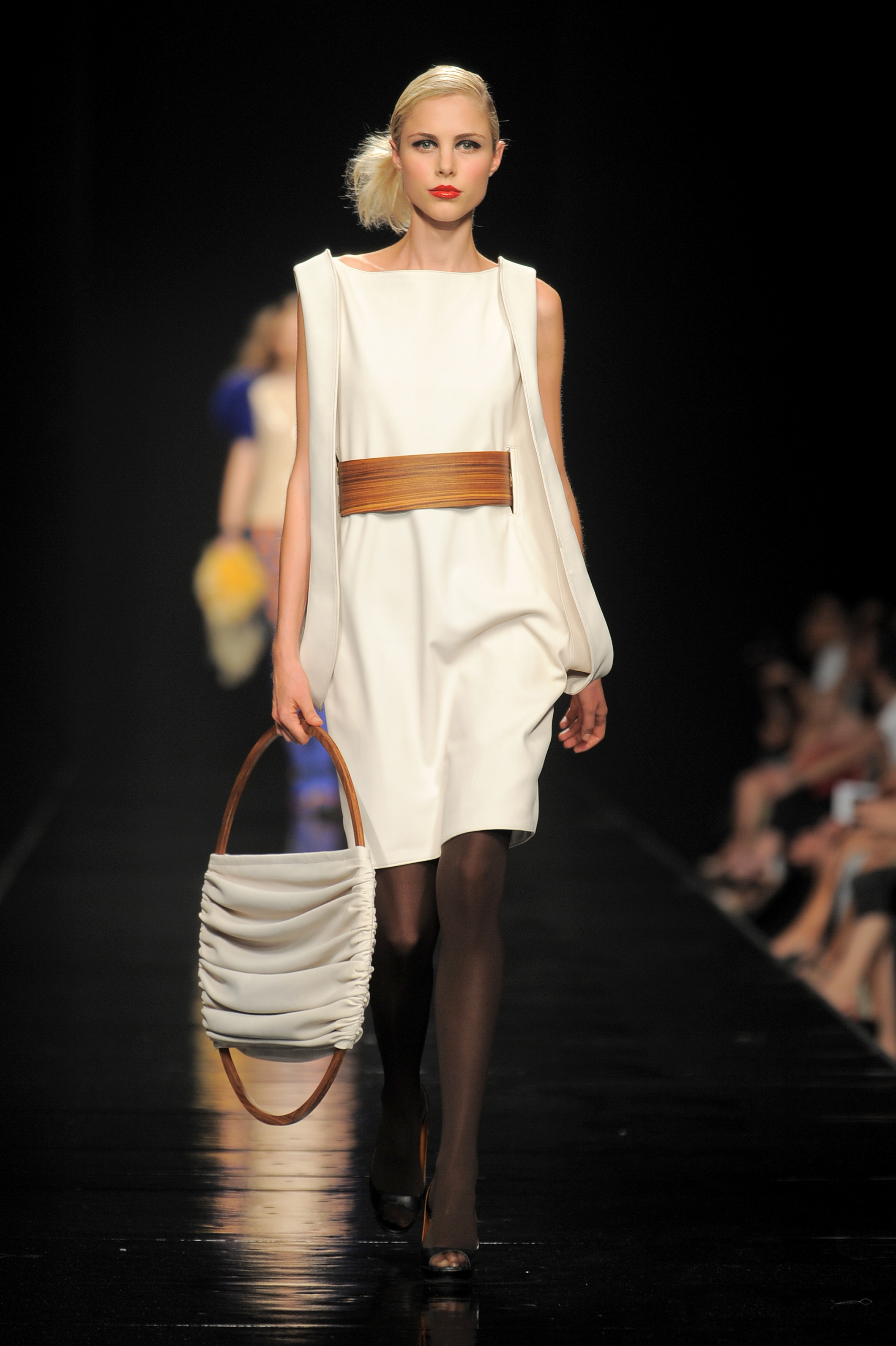 Istituto Marangoni Milan final fashion show in 2009. Veneer belt and reindeer leather dress.