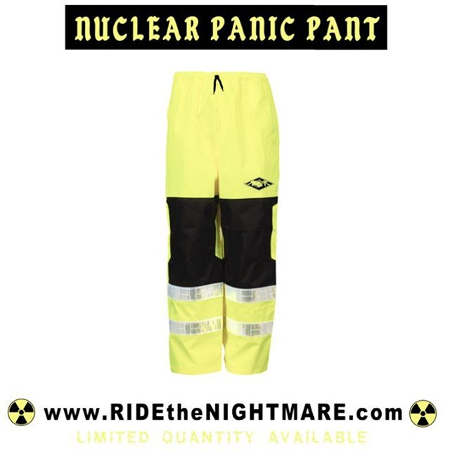 $65.00 while supplies last. www.RIDEtheNIGHTMARE.com - Hi Visual Waterproof Material - All Seams Sealed - Elastic Drawstring - Gore Tex knees - Oralite Reflection - Adjustable cuffs (fits boots) - Breathable - Left & Right side pocket enclosures