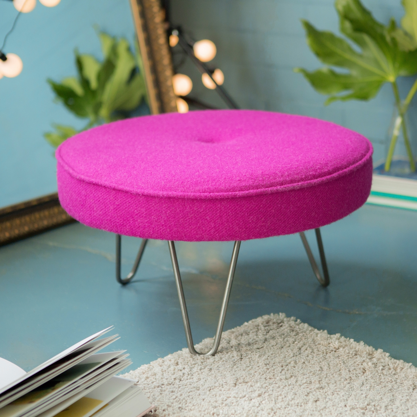 Small but mighty - A smaller version of our hairpin leg footstool - great for occasional seating.