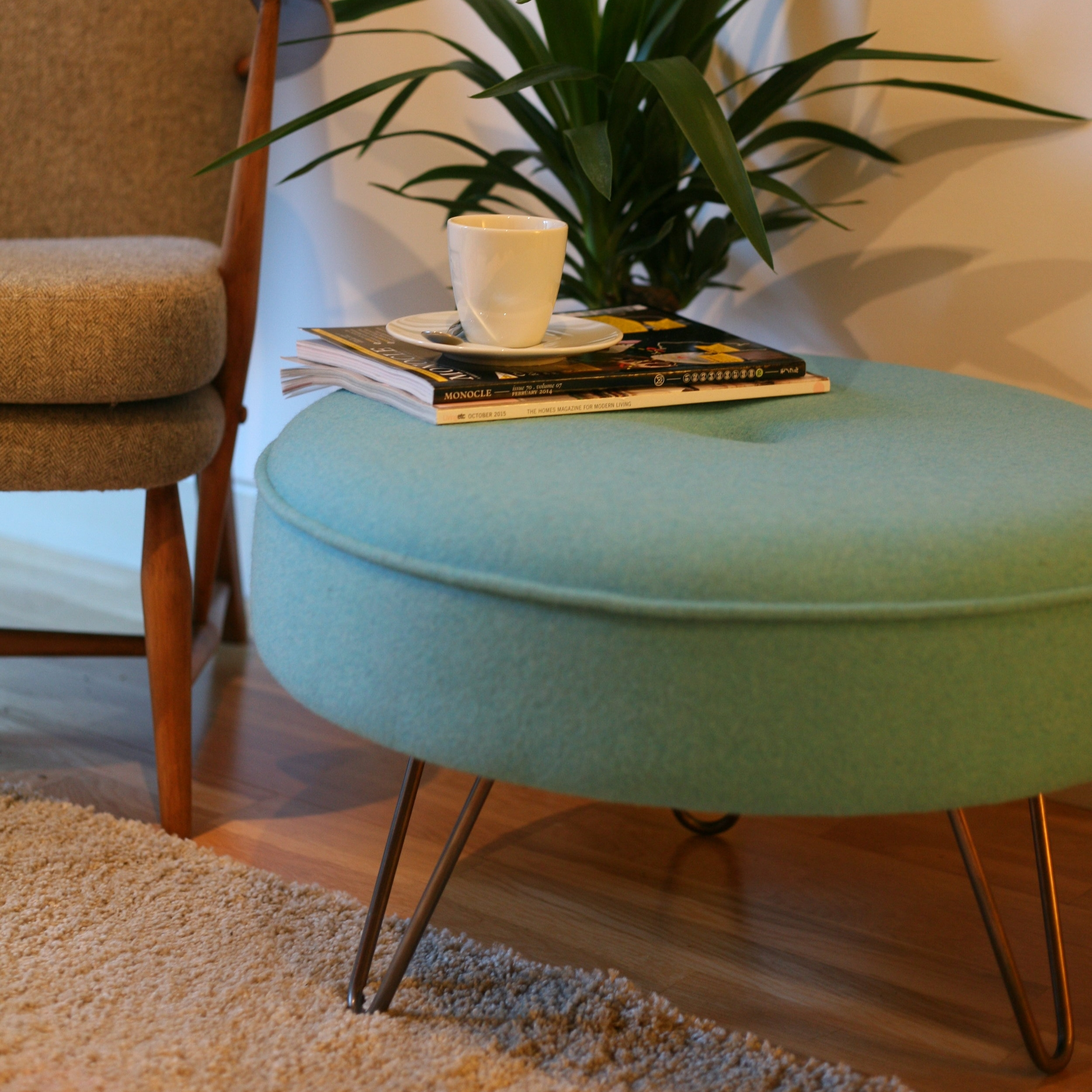 Mid-Century style Footstool - Our original round footstool with hairpin legs in a wide range of colours & fabrics