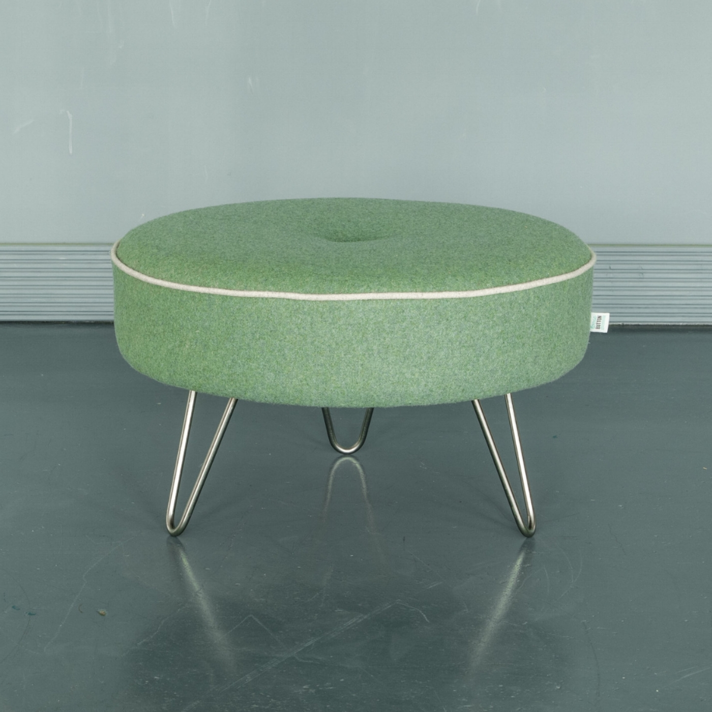 Contrast piping & button footstool  - Our original round footstool with hairpin legs in a wide range of colours & fabrics