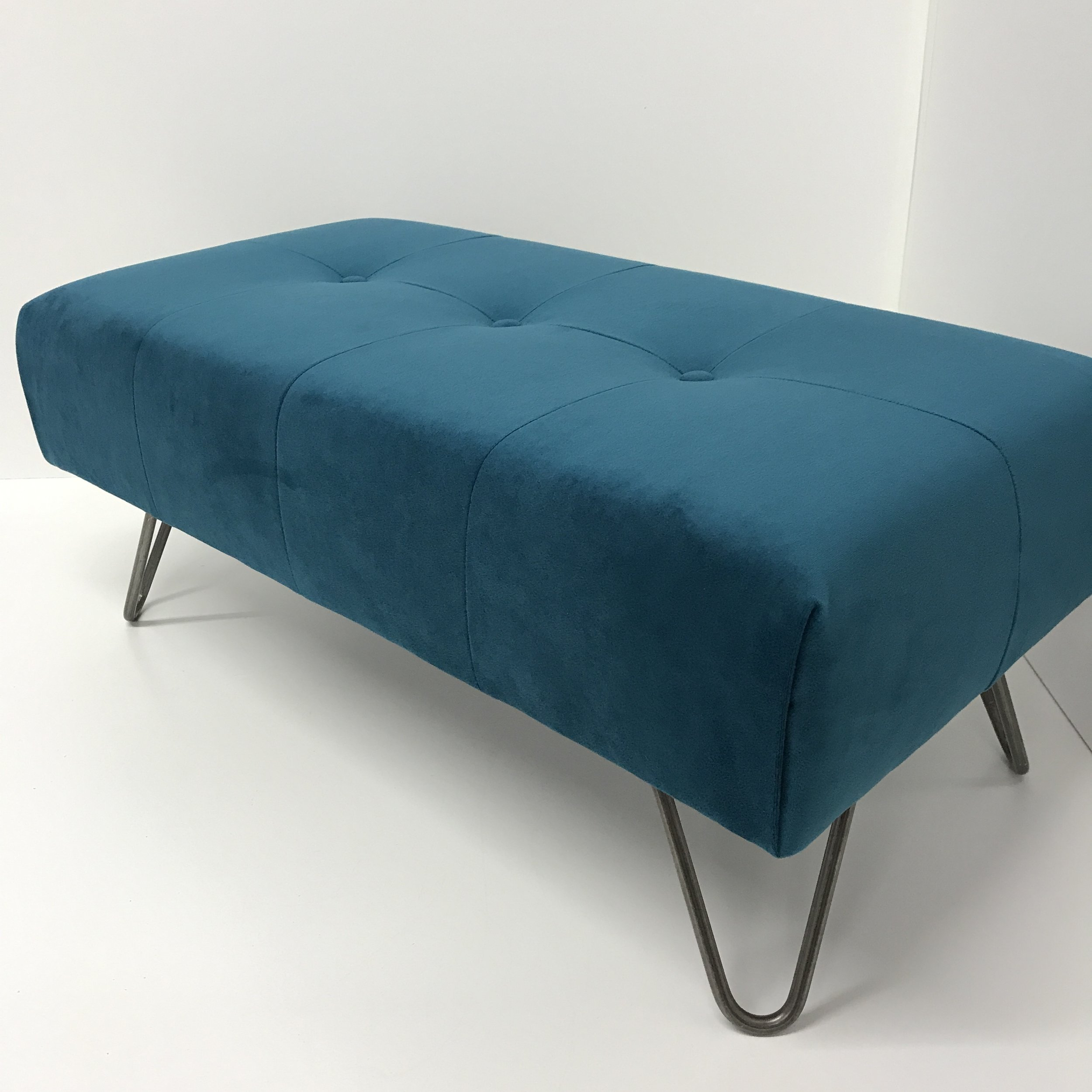 [new] Panel Footstool - Sumptuous velvet panel with button detail & classic hairpin legs