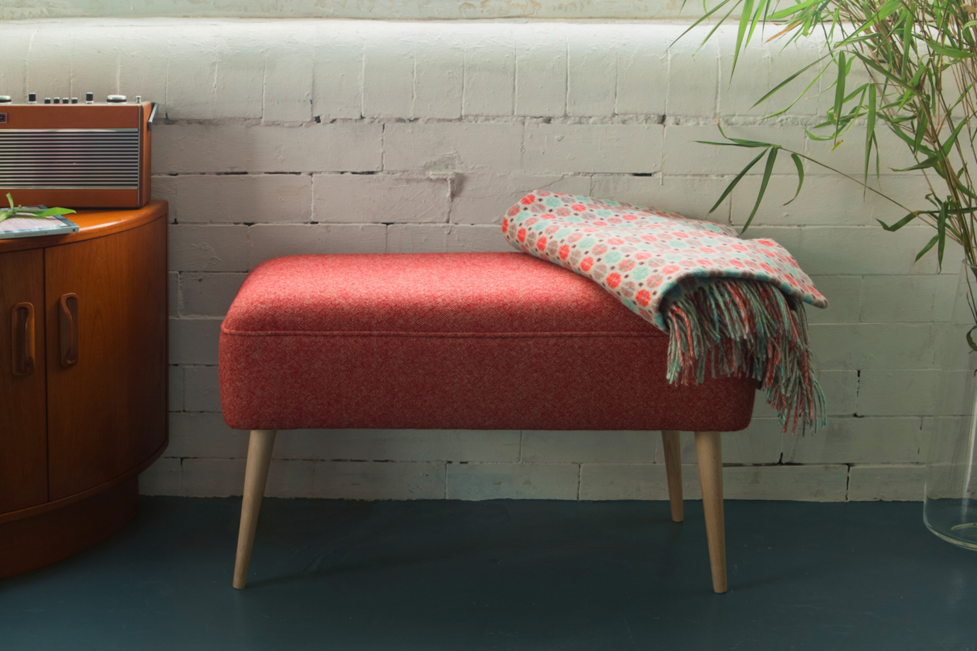Mid Century Modern Bench - With tapered wooden legs