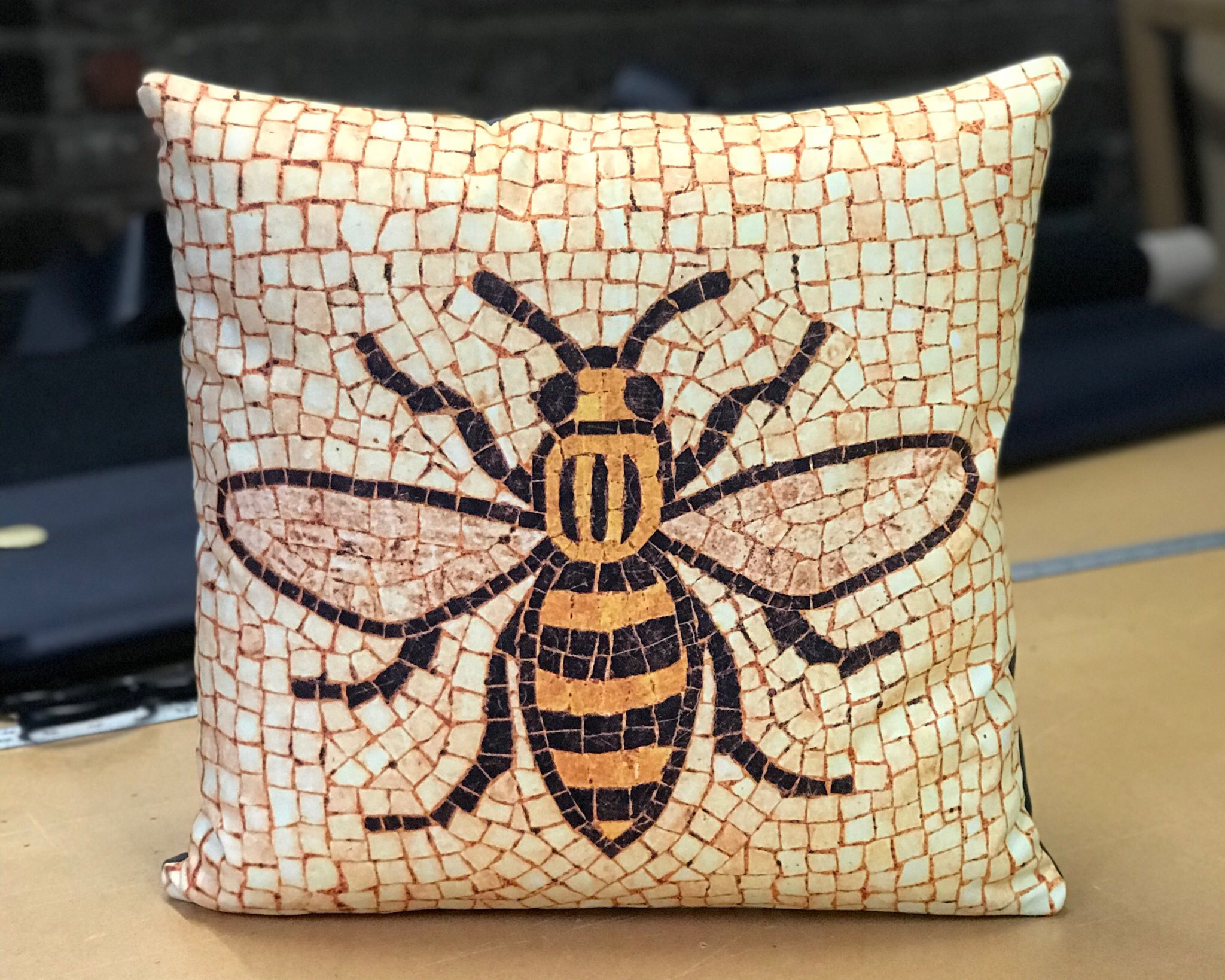 Manchester Bee Cushions - Printed and made for Manchester based photographer Paul Grogan