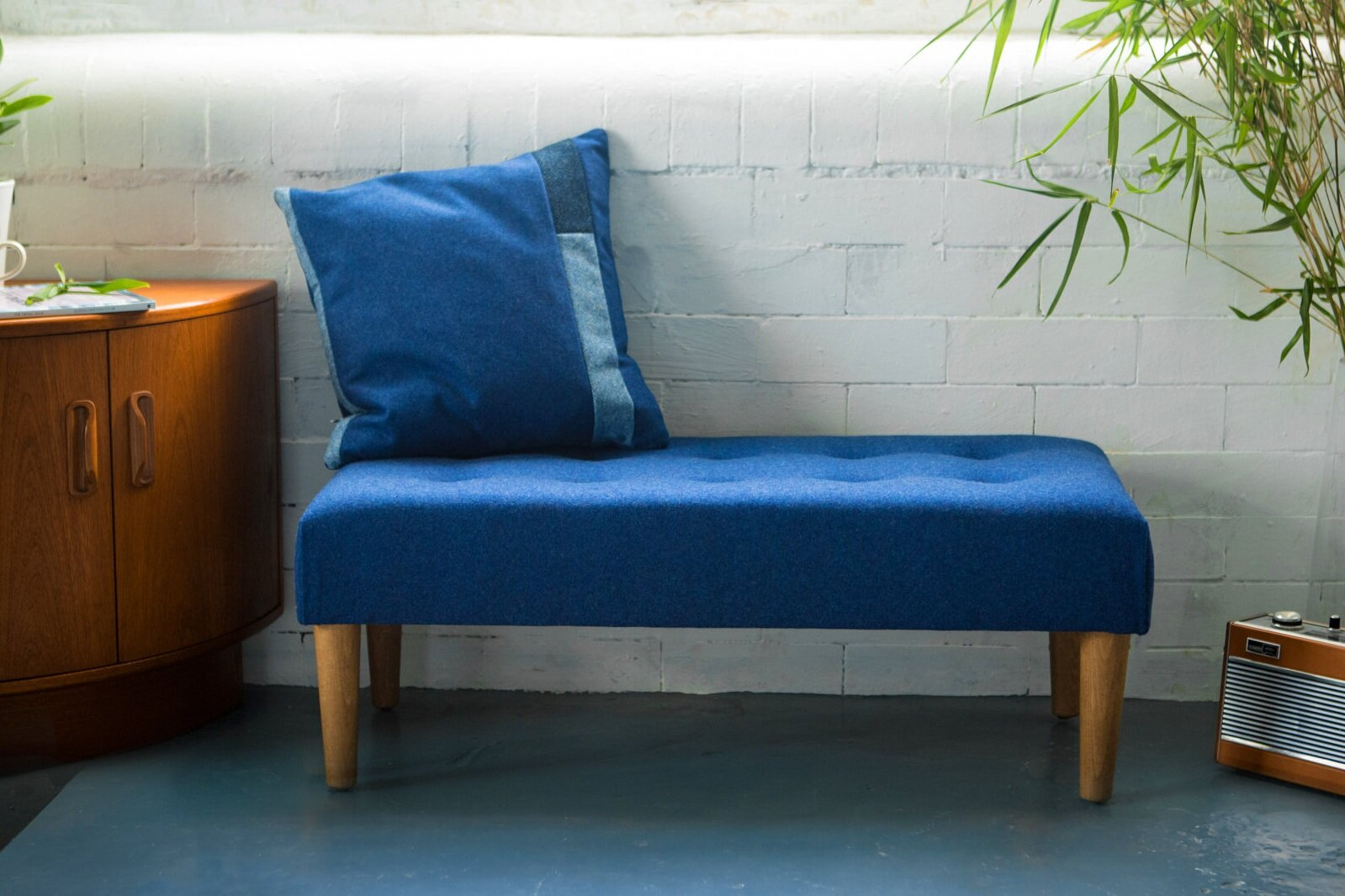 Large Classic Buttoned Footstool