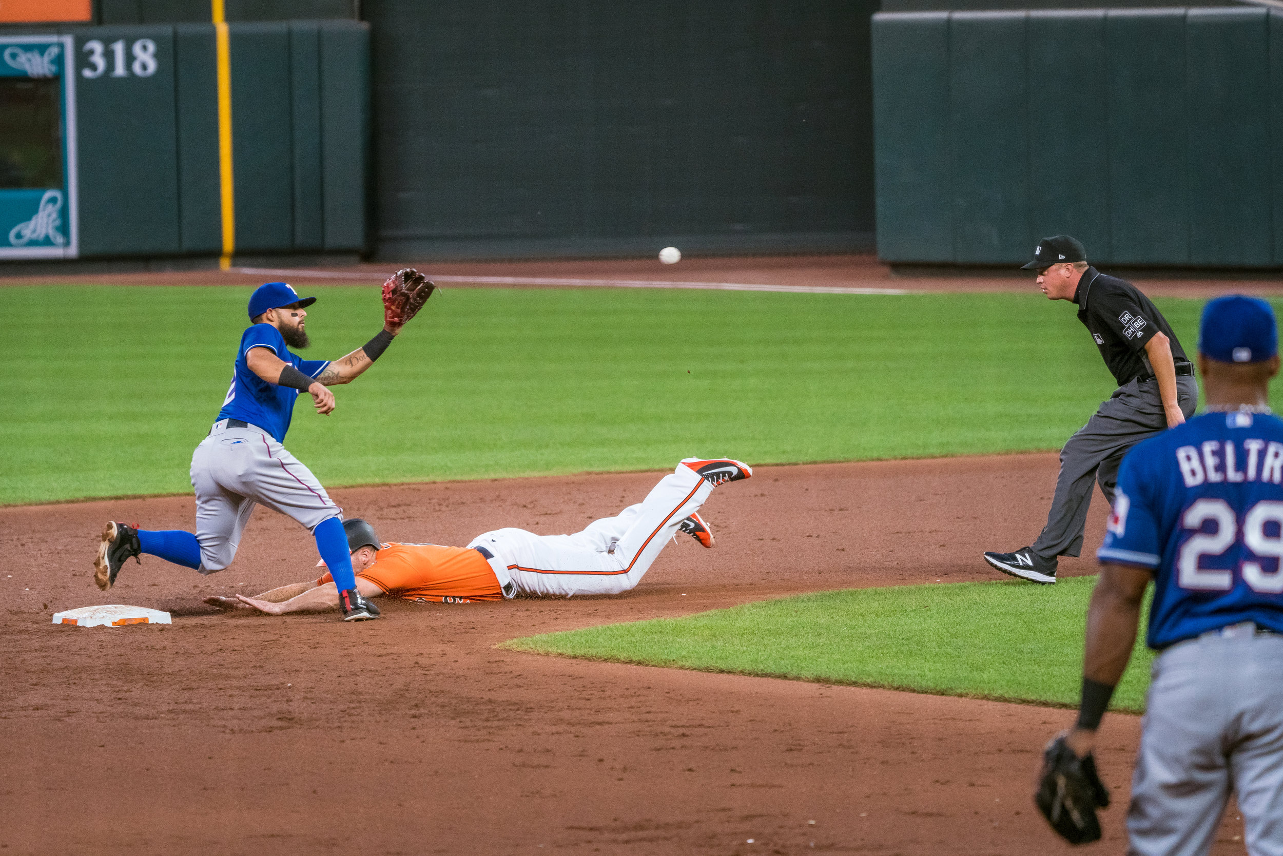 Throwdown at second, he was safe obviously but looks cool