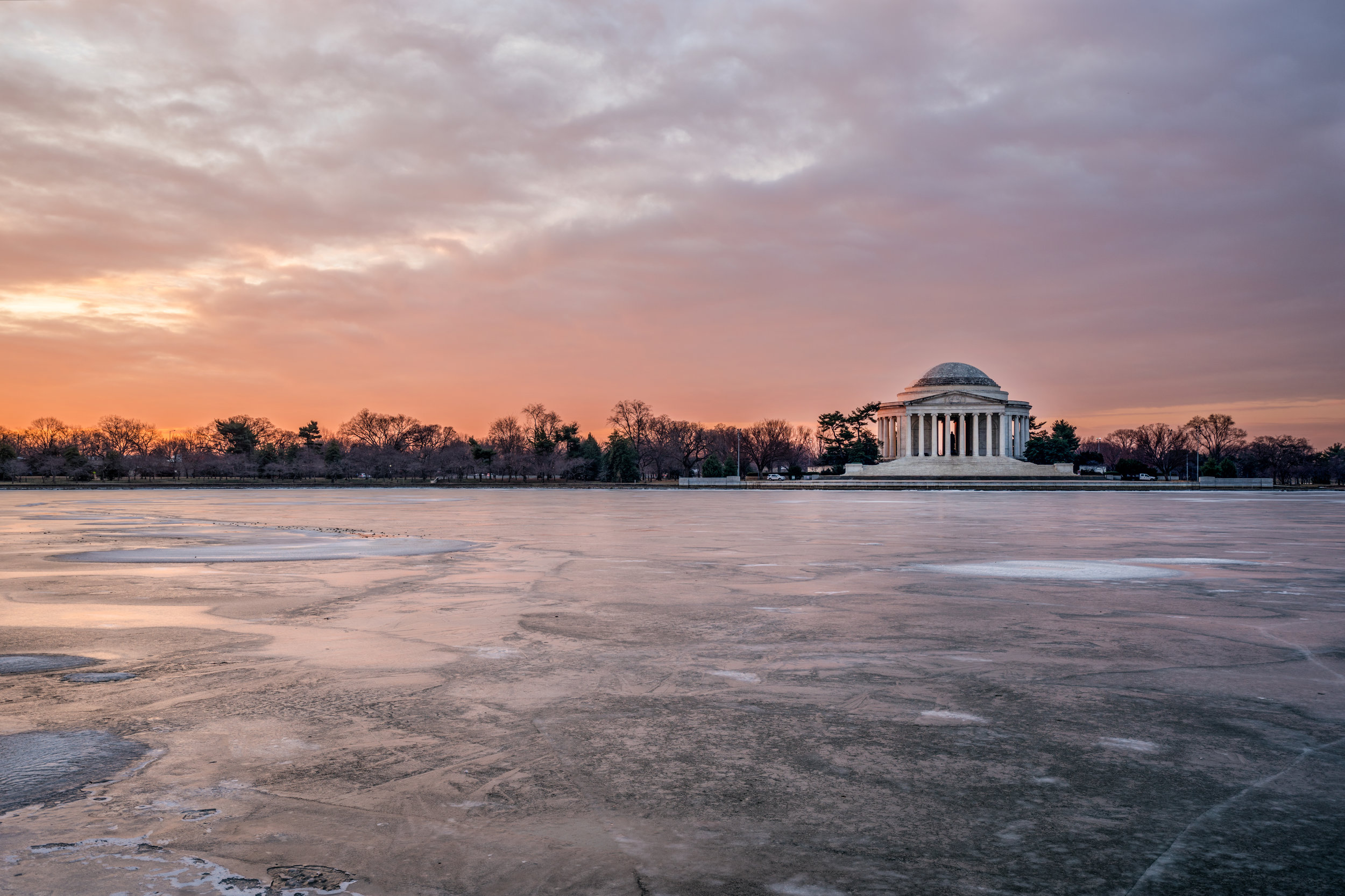 Early January 2018 freeze of the Tidal Basin with some amazing color in the sky. ---- Sony A7R2 --- 5:31am -- Sony 16-35/35mm - 1/200, F/5.6, ISO 100, tripod.