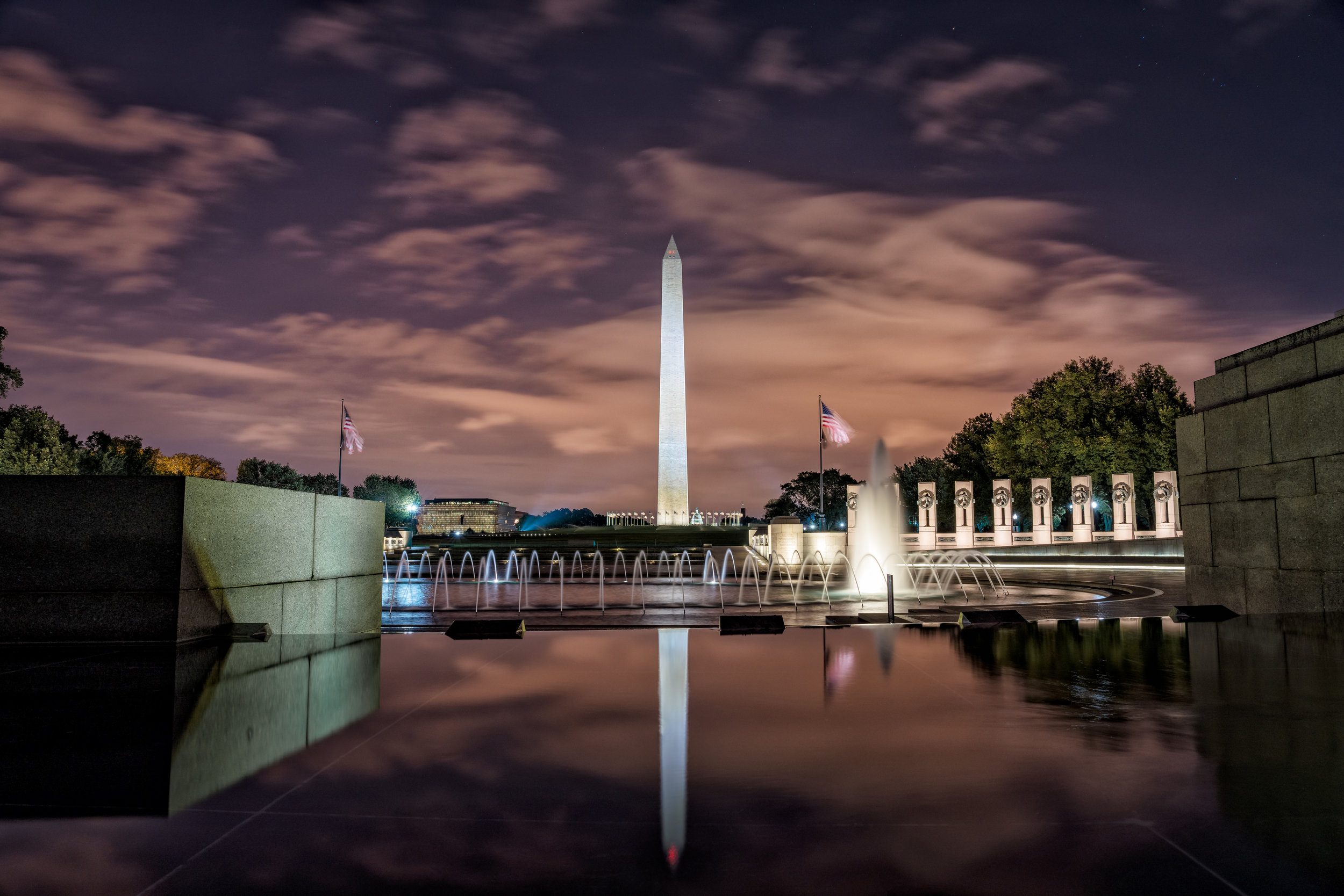 From the Reflecting pool side of the World War II Memorial around 5:20am