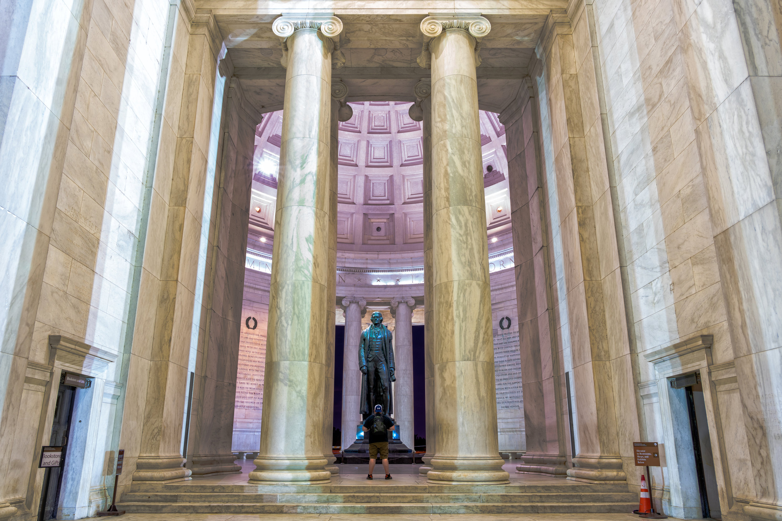 Attempted to frame the entrance and get me standing in front of Jefferson but my black shirt blended a bit. - 30 sec exposure