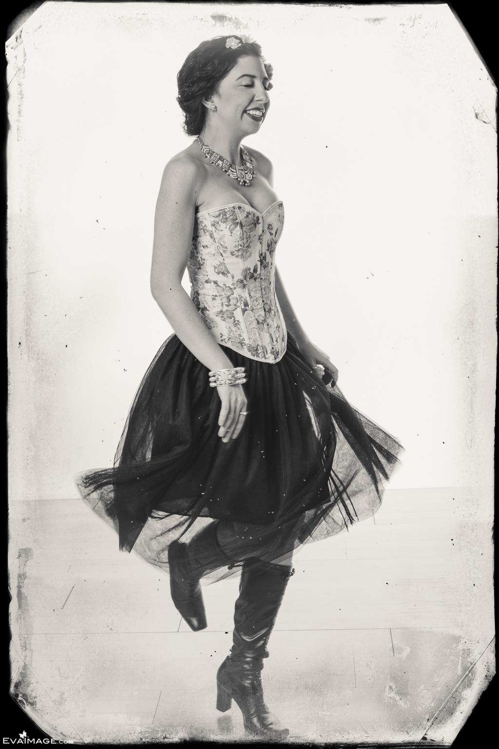 Dancing Woman Retro Portrait