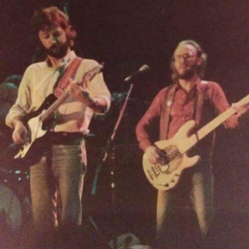 Carl with a MusicMan, purchased for him by Eric Clapton - courtesy of Carl Radle Com