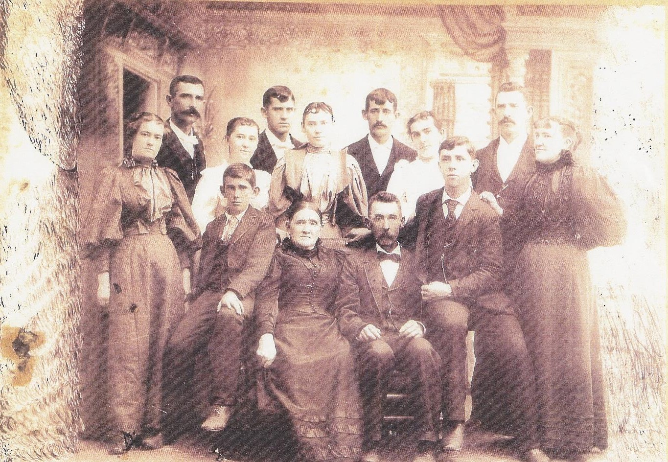 A fun-looking bunch of Kellys, with our great-great Grandfather John, with his wife Catherine on the far left.