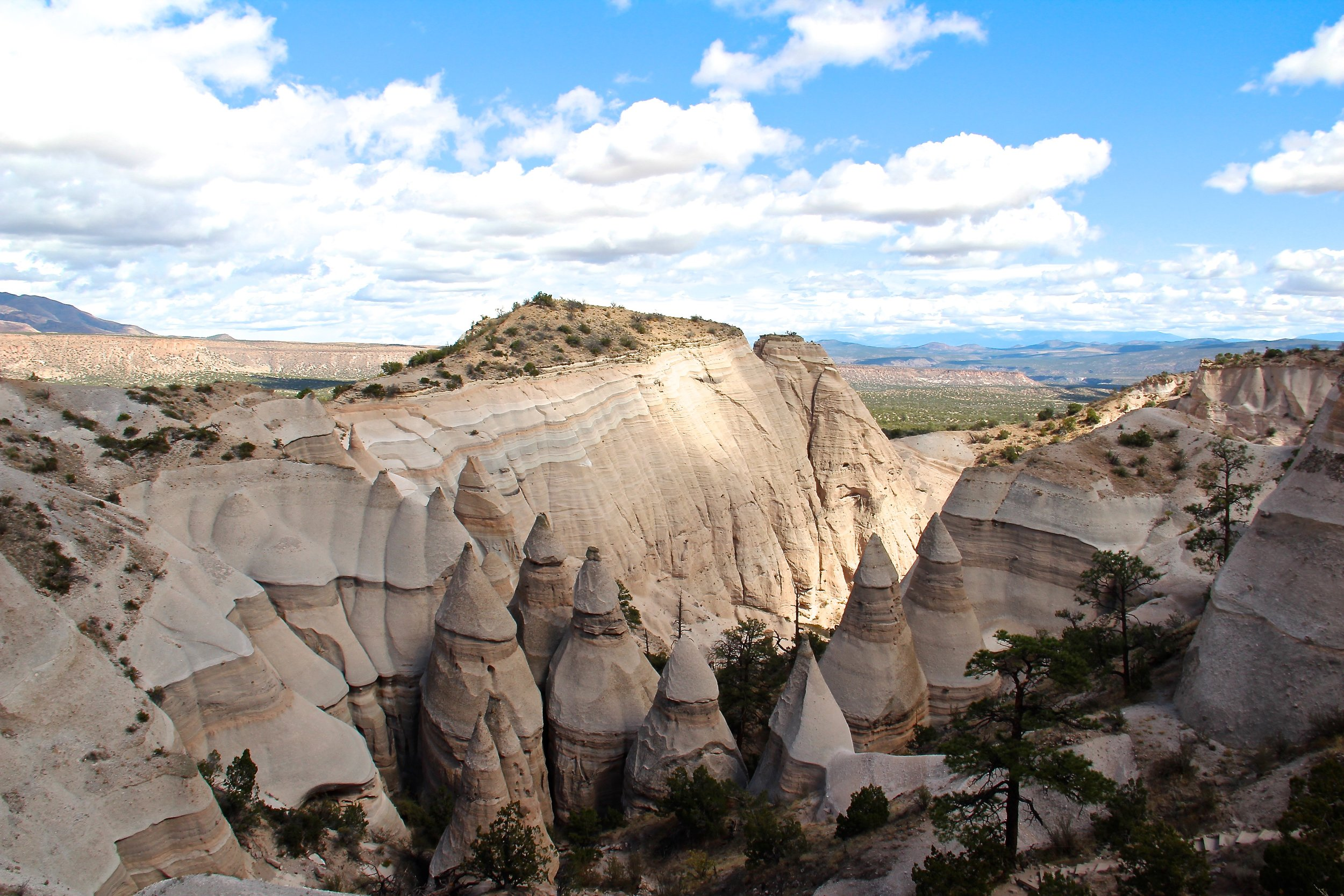 The view from the top of the Slot Canyon hike at Kasha Katuwe Tent Rocks National Monument in New Mexico