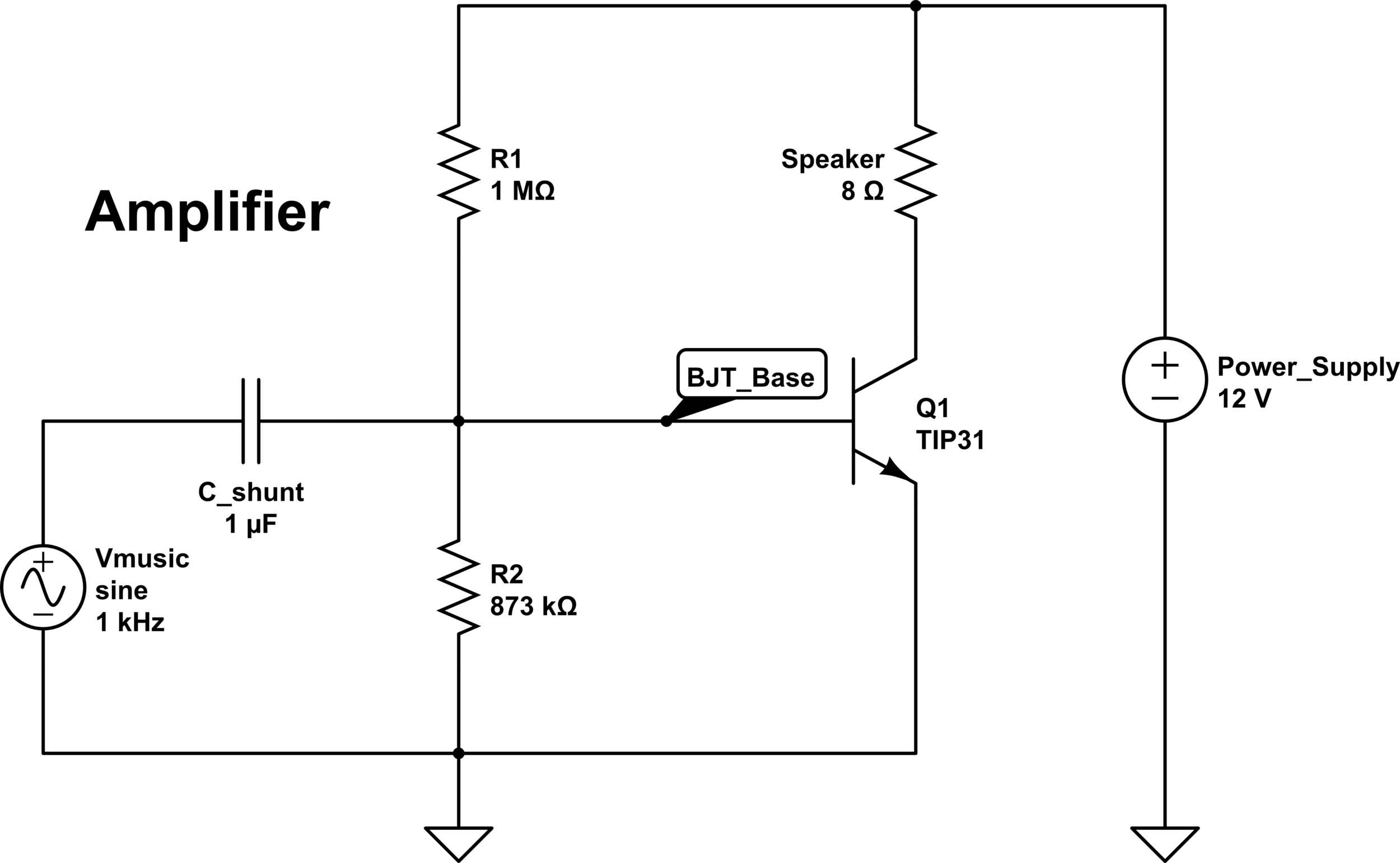 Input: Vmusic from the filter component. Output: Voltage across speaker (denoted with 8Ω resistor).