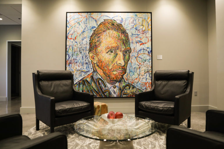 "Nowart's artwork ""Van Gogh"" is displayed in the Group 42 office. Photo by Bonnie Arbittier of the Rivard Report."