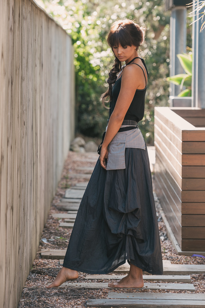 Selma top, Pocket belt & Willow skirt in ink check