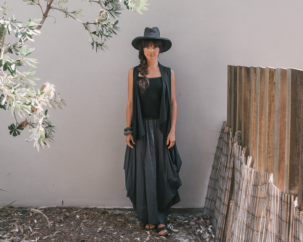 Selma top, Melba vest & Willow skirt in ink check