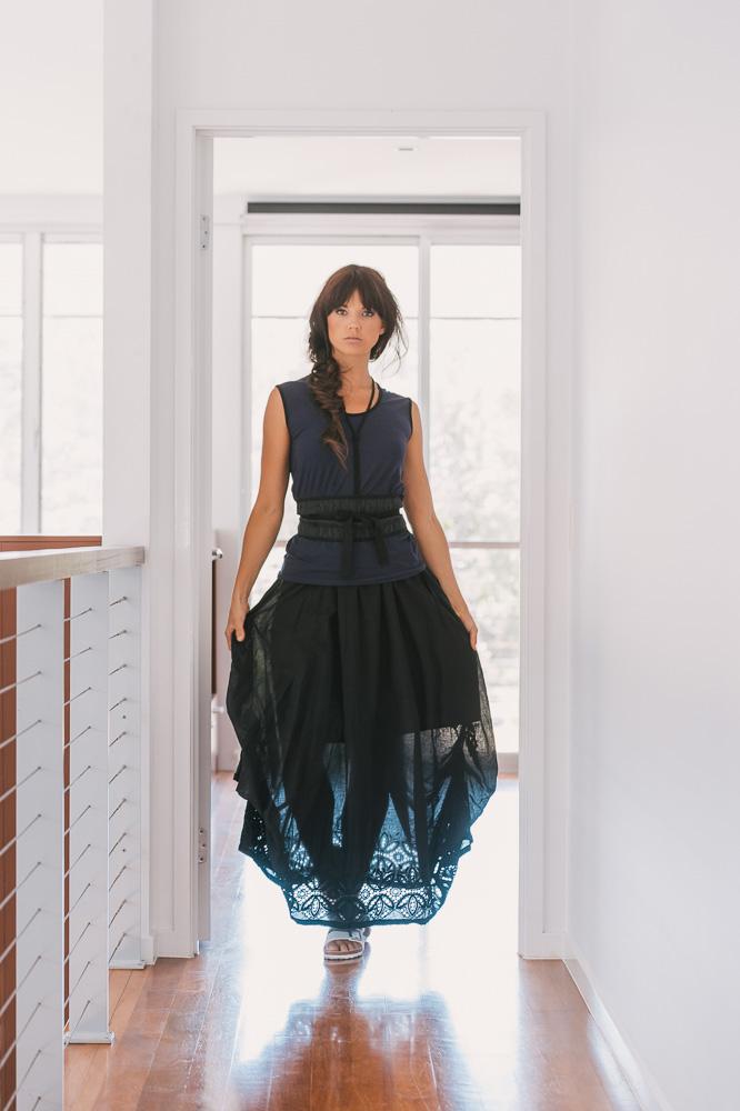 Willow skirt, Slant top & Otis obi belt
