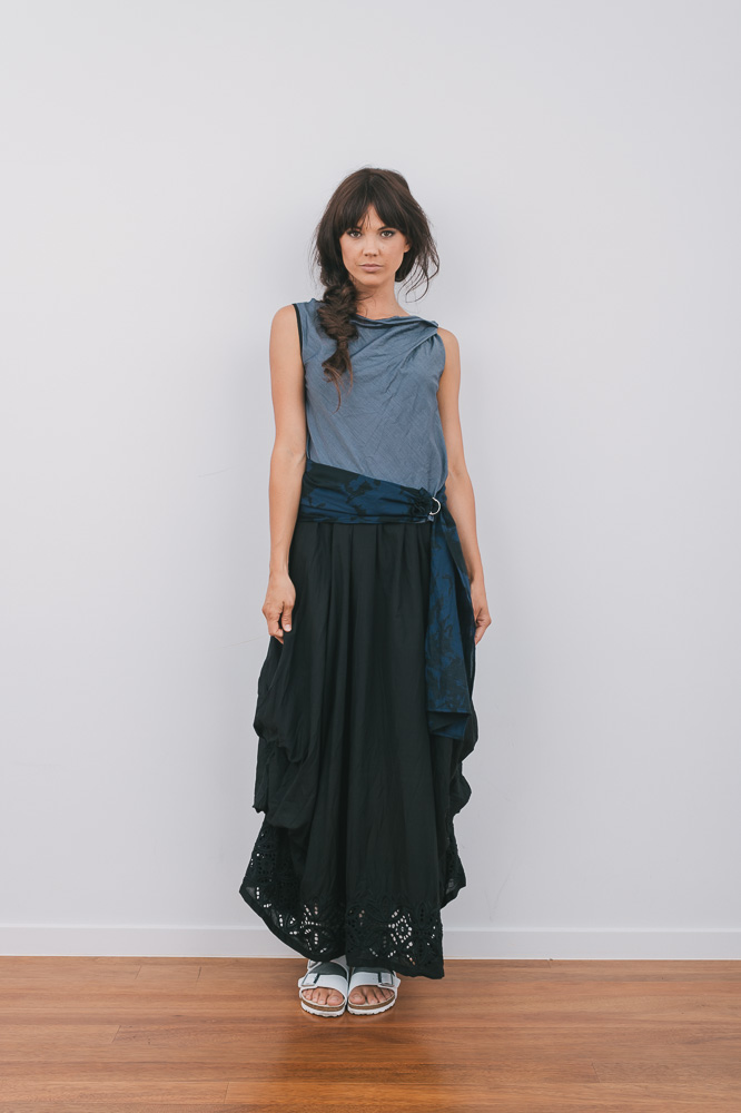 Twisted Cordyline top, D-sash & Willow skirt