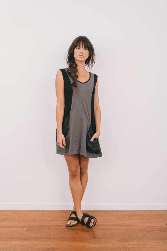 Periwinkle dress in rock/black