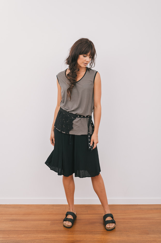 Slant top with Cassidy culotte & Lace shroud