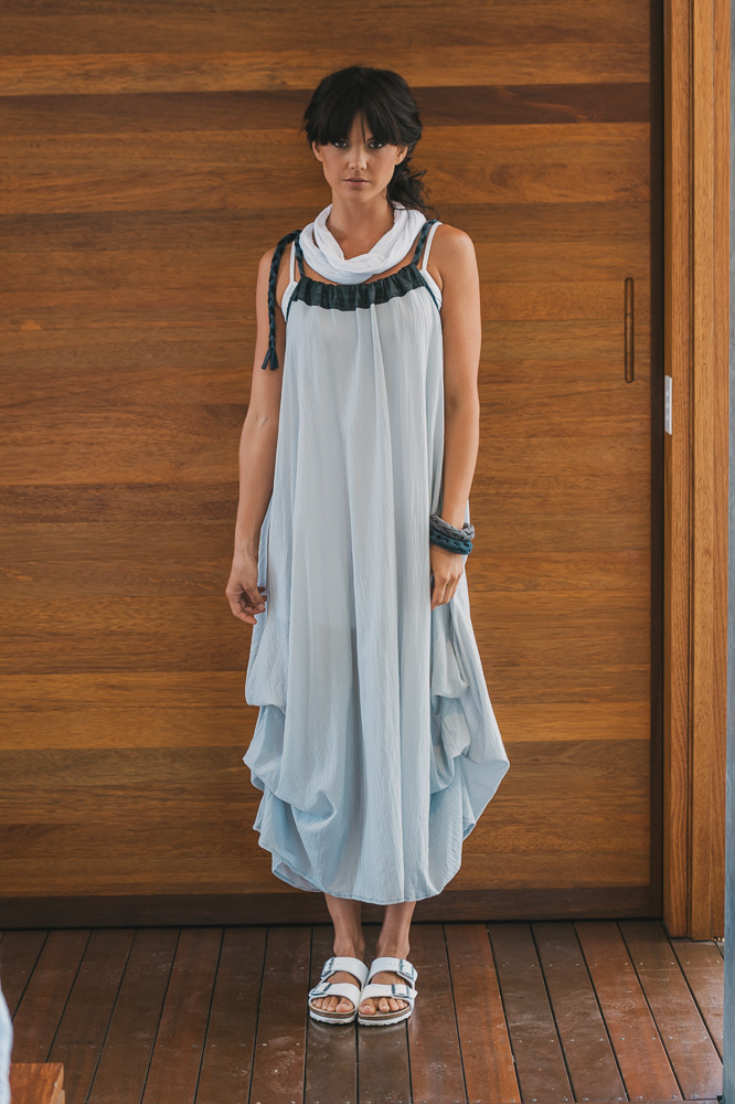 Willow dress with white Nasturtium slip & Loopy scarf
