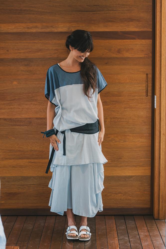 Maude dress with white Nasturtium slip, Otis obi belt & Willow skirt