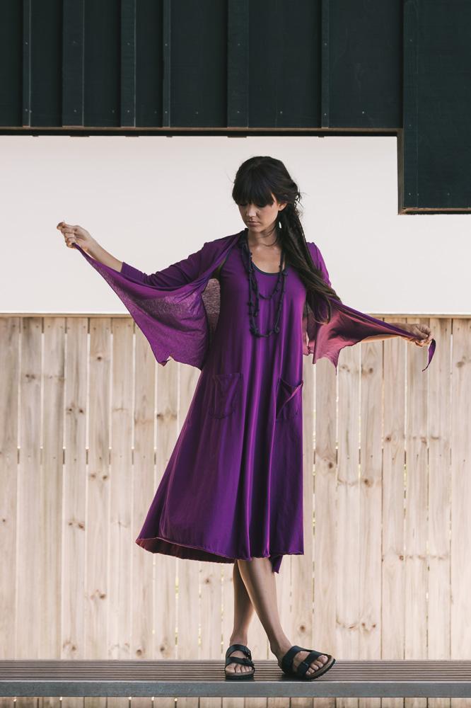 Quirk shrug 3/4 sleeve & Dita dress in amulet
