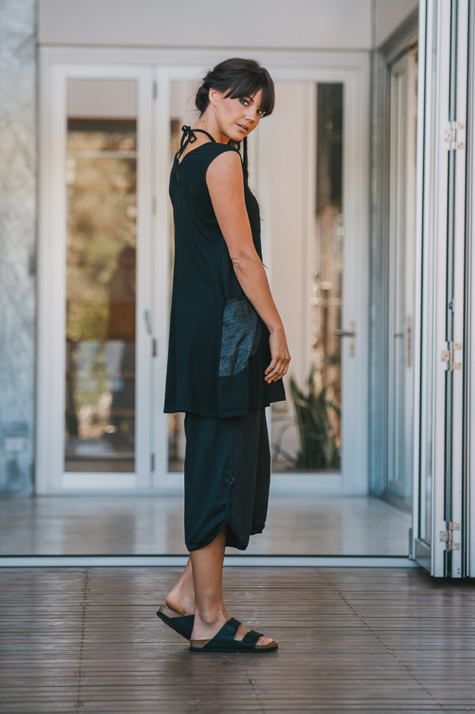 Periwinkle dress worn as tunic with Celeste pant