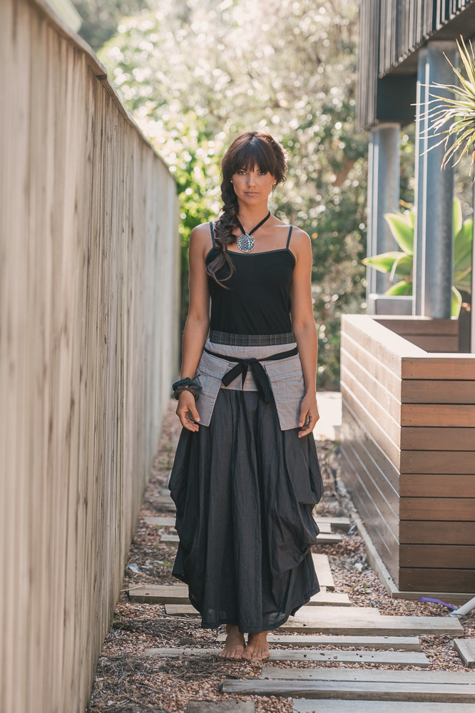 Slema top, Pocket belt & Willow skirt in ink check