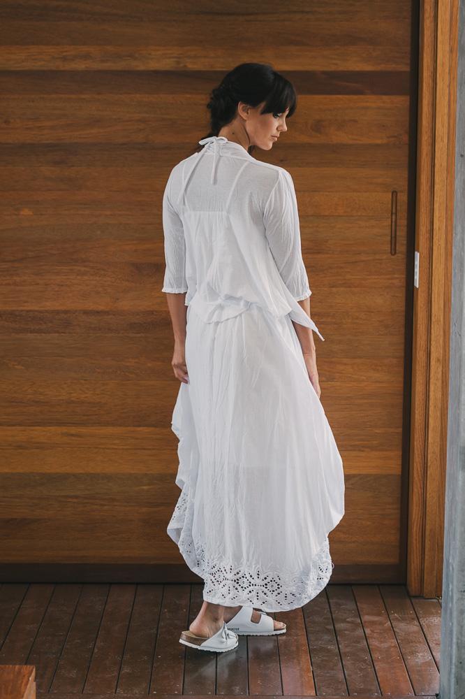 Quirk shrug 3/4 sleeve over Nasturtium top & Willow skirt
