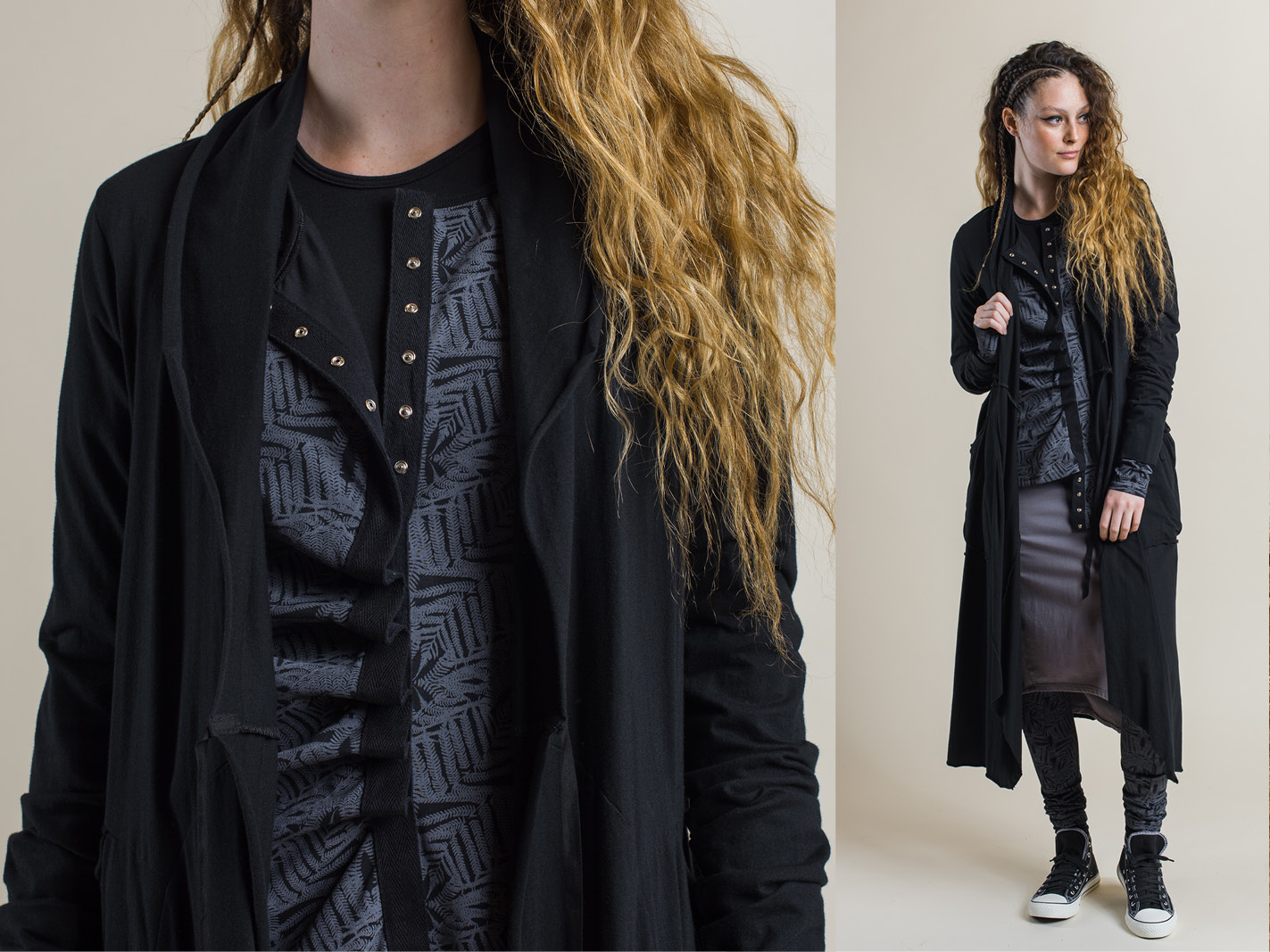 Annabel coat (black) over Camille long cardigan (shadow print), Tansy top (black), Fern print legging (shadow) and Jezabel skirt (dove)