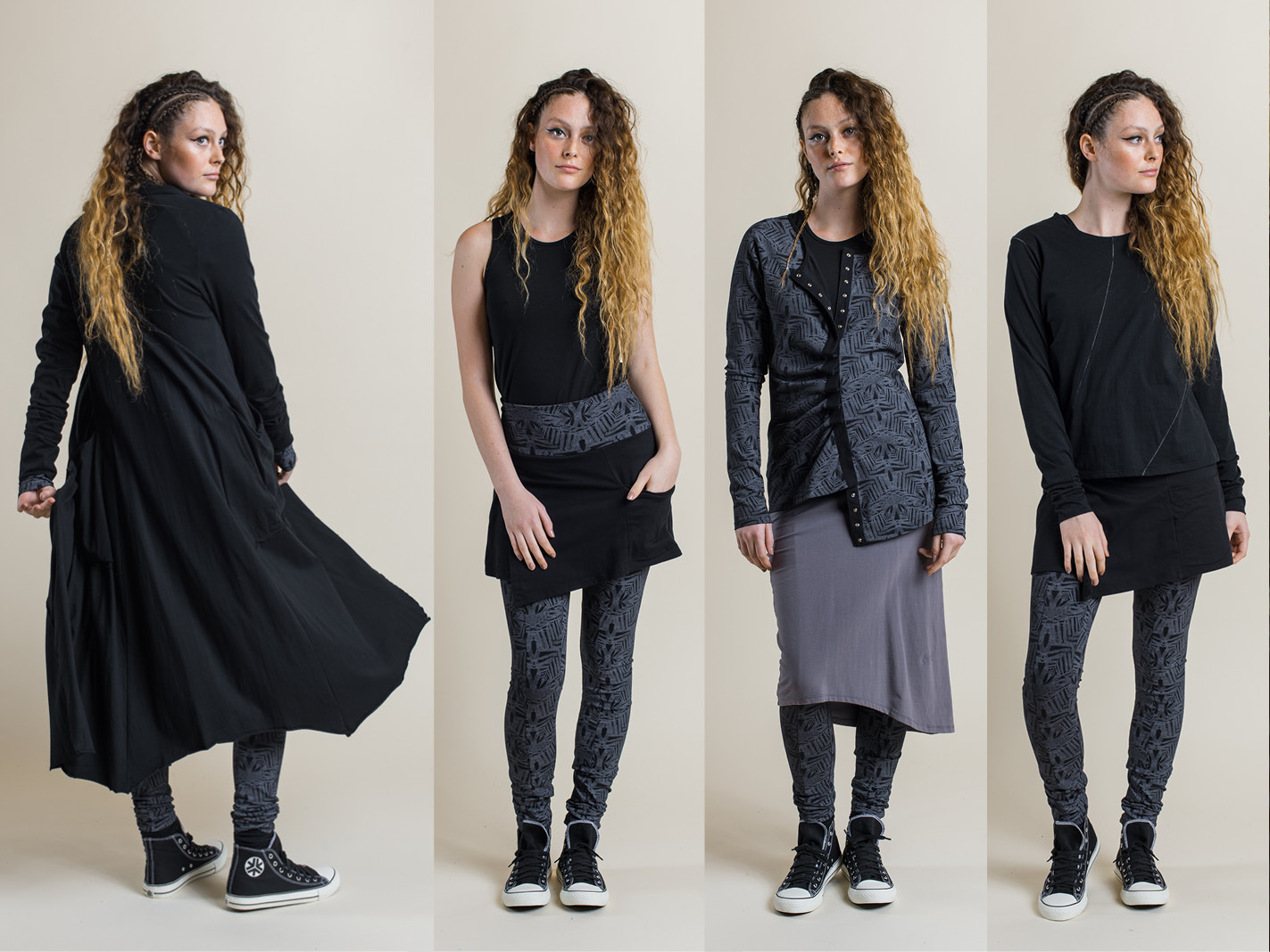 LEFT: Annabel coat (black), Fern print legging (shadow) MIDDLE LEFT: Tansy top (black) and Maggie skirt/pant (black/shadow print) MIDDLE RIGHT: Tansy top (black), Camille long cardi (shadow print) with Jezabel skirt (dove) and Fern print legging (shadow) RIGHT: Perla long sleeve top (black) and Maggie skirt/pant (black/shadow print)