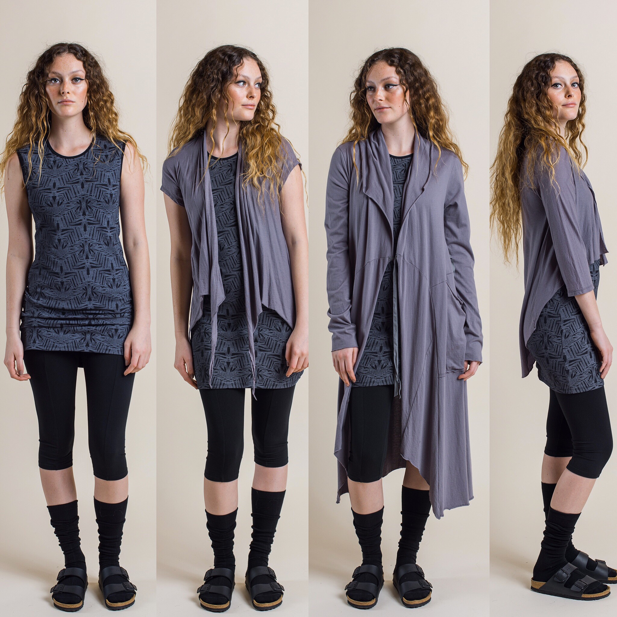 Lara 3/4 leggings with Josie dress, then added Quirk short sleeved Shrug or Annabel Coat or Ester cardi