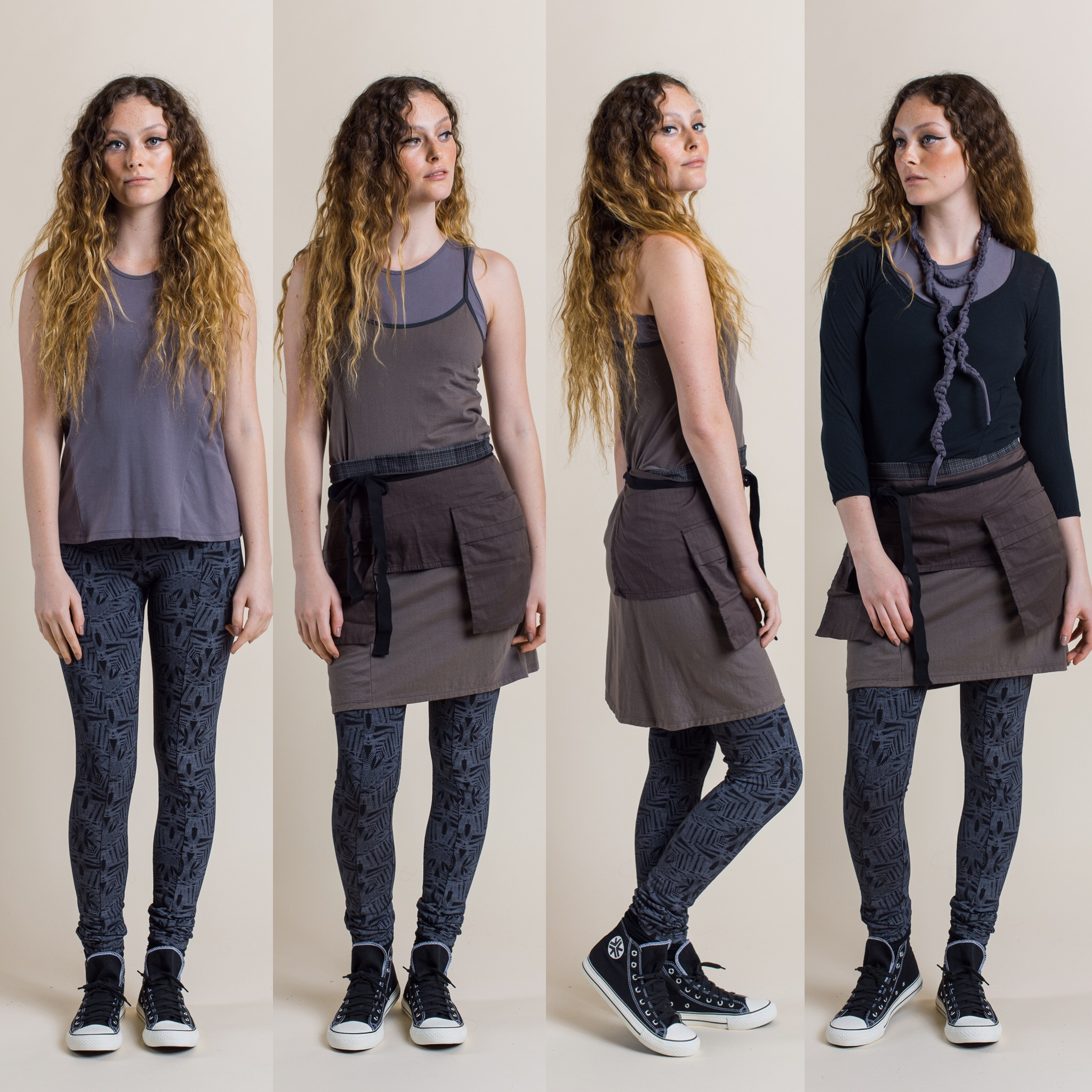 Fern Printed Leggings in shadow with Tansy Top in Dove(far left) , add Nasturtium Slip in rock and Pocket Belt in mineral colour. Swivel top black and Tendril necklace/belt added (far right)