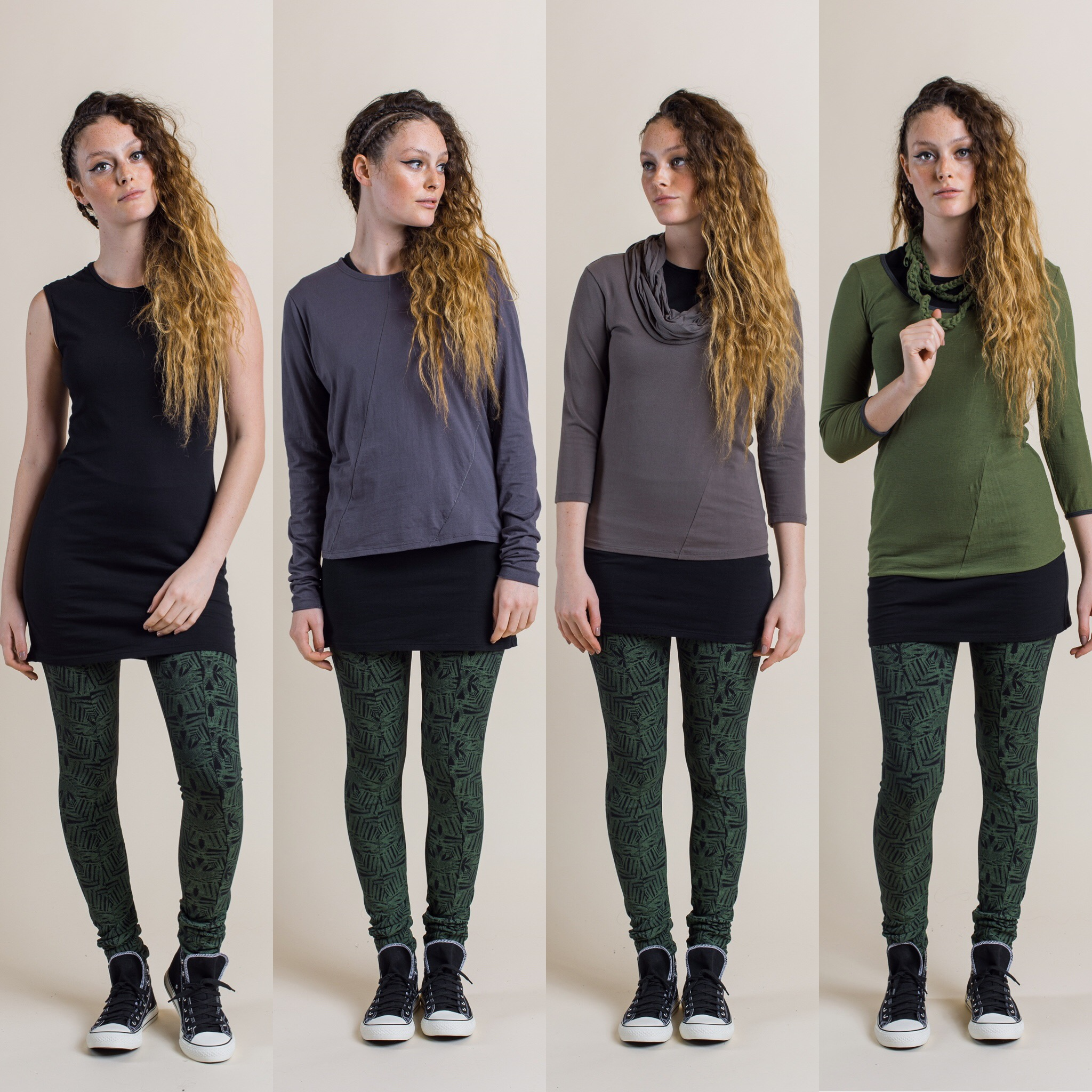 Fern Printed leggings in fern colour, with different tops added. Perla long sleeve top in shadow, Robin Top in rock, Swivel top in fern and a Tendril necklace/belt.